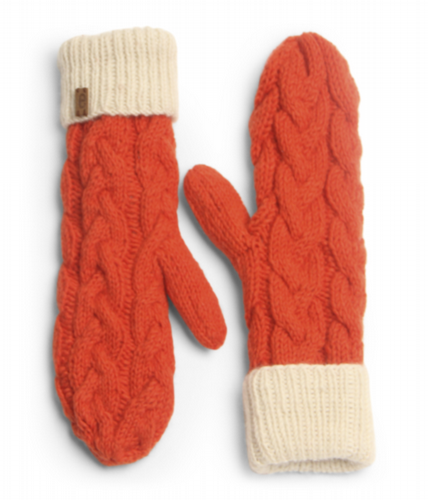 Wool Cable Knit Mittens - Orange